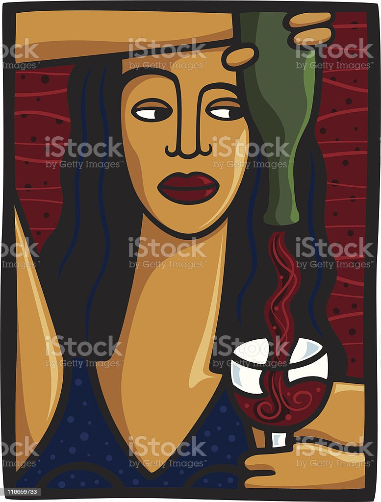 Woman Pouring Wine royalty-free stock vector art