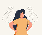 istock Woman power, female self confidence, high esteem concept. Brave confident smiling woman standing showing biceps shadows. 1329074914