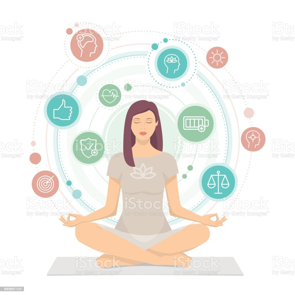 Woman practicing mindfulness meditation vector art illustration