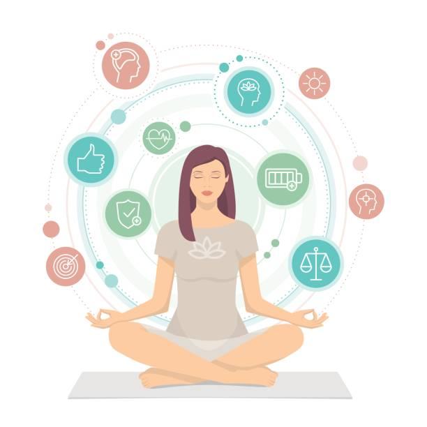 Woman practicing mindfulness meditation vector art illustration