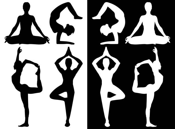 woman practicing yoga icons - yoga stock illustrations, clip art, cartoons, & icons