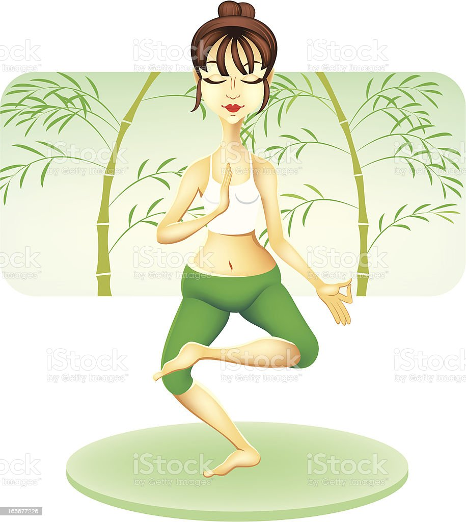 Woman practicing yoga royalty-free stock vector art