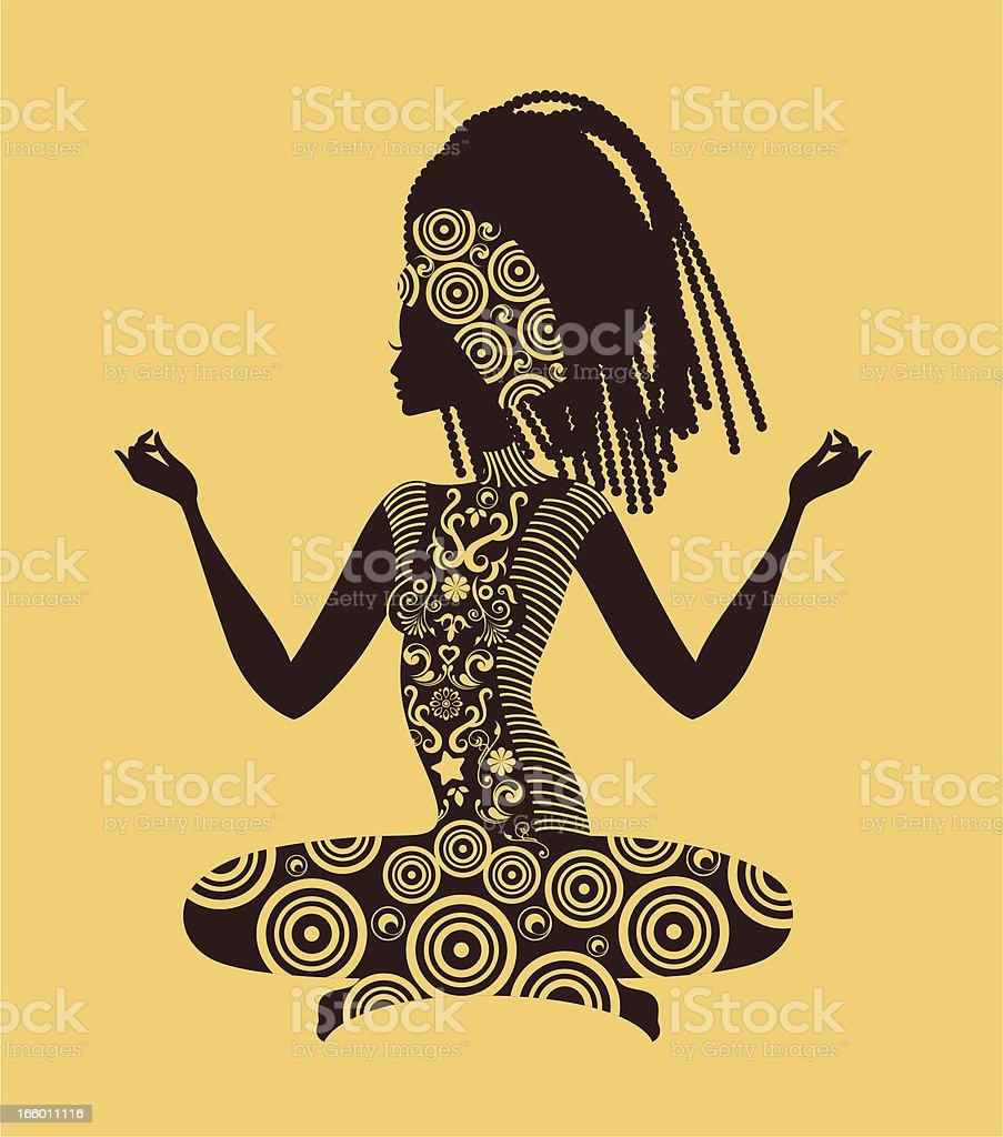 Woman practising yoga. vector art illustration