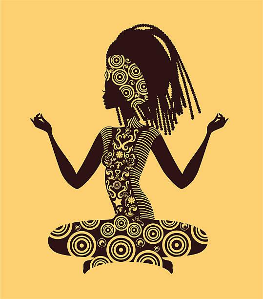 Kobieta ćwiczenia jogi. – artystyczna grafika wektorowa
