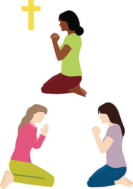 Woman Praying Vector Art Illustration