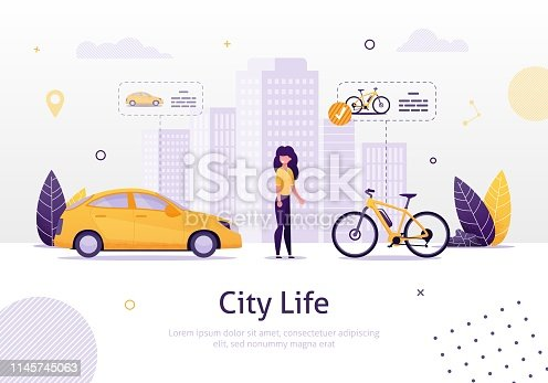 istock Woman Prefering Driving Bicycle to Car Banner. 1145745063