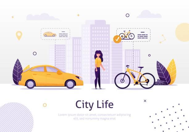 illustrazioni stock, clip art, cartoni animati e icone di tendenza di donna che preferisce guidare la bicicletta allo striscione dell'auto. - appartamento