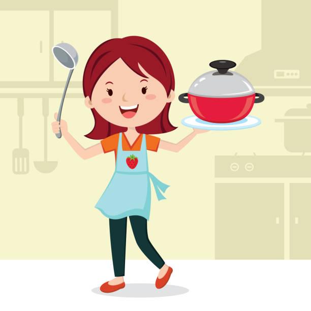 Woman preparing food in the kitchen vector art illustration