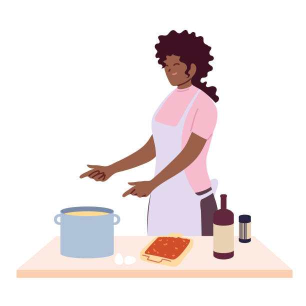 woman preparing soup over white background - busy restaurant kitchen stock illustrations