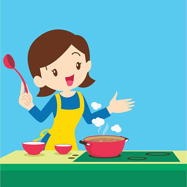 frau vorlage küche - hauswirtschaft stock-grafiken, -clipart, -cartoons und -symbole