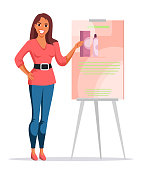 Woman seller, advertising agent, promoter presenting new cosmetics product on white. Innovative beauty goods for skin, body or hair care. Female character standing near dashboard. Vector illustration