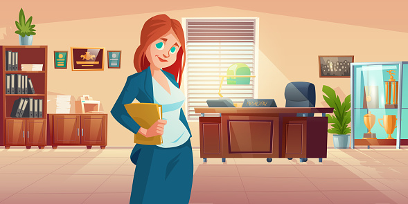 Woman principal in school office with desk, c