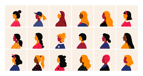 Woman profile. Female head side view, minimal cartoon faces. Cute people with haircuts and hairstyles. Collection of different girl avatars, square banners set. Vector human portraits