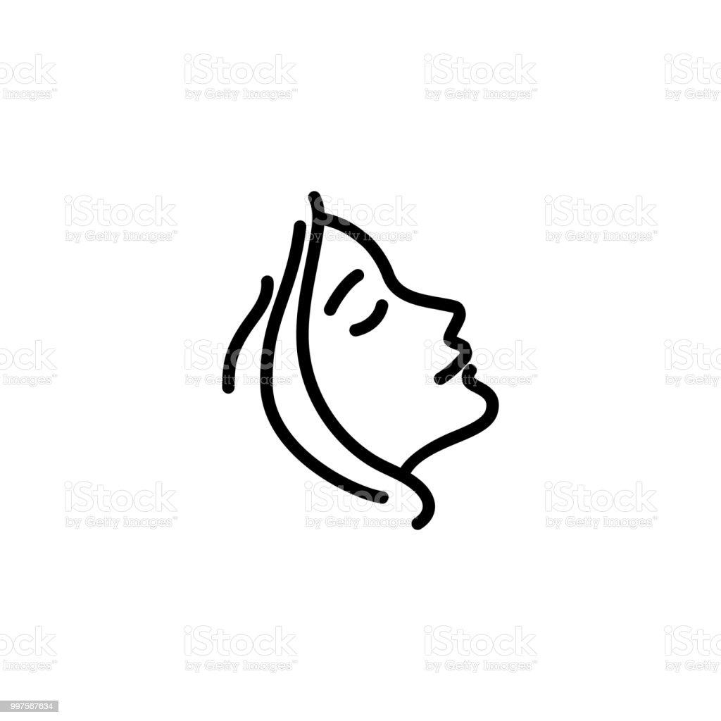 女性プロフィール ライン アイコン ベクターアートイラスト