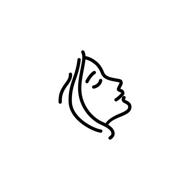 Woman profile line icon Woman profile line icon. Face, cosmetology, beautician. Beauty care concept. Can be used for topics like beauty salon, dermatology, aesthetic procedure massage stock illustrations