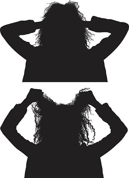ilustrações de stock, clip art, desenhos animados e ícones de mulher puxando o cabelo - puxar cabelos