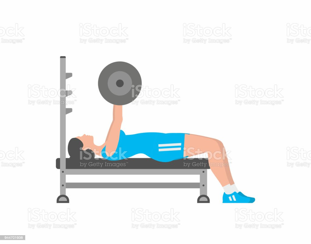 Pleasant Woman Pumping Up Muscles On Bench Press Stock Illustration Lamtechconsult Wood Chair Design Ideas Lamtechconsultcom