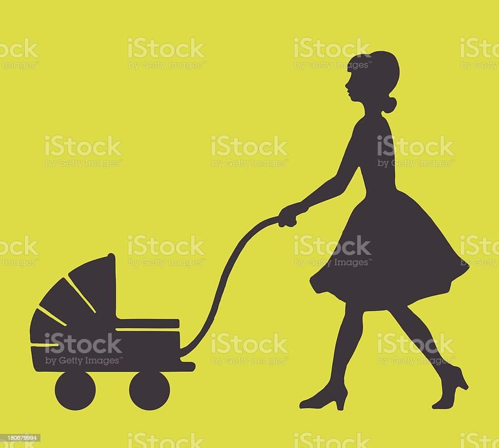 Woman Pushing a Baby Stroller vector art illustration