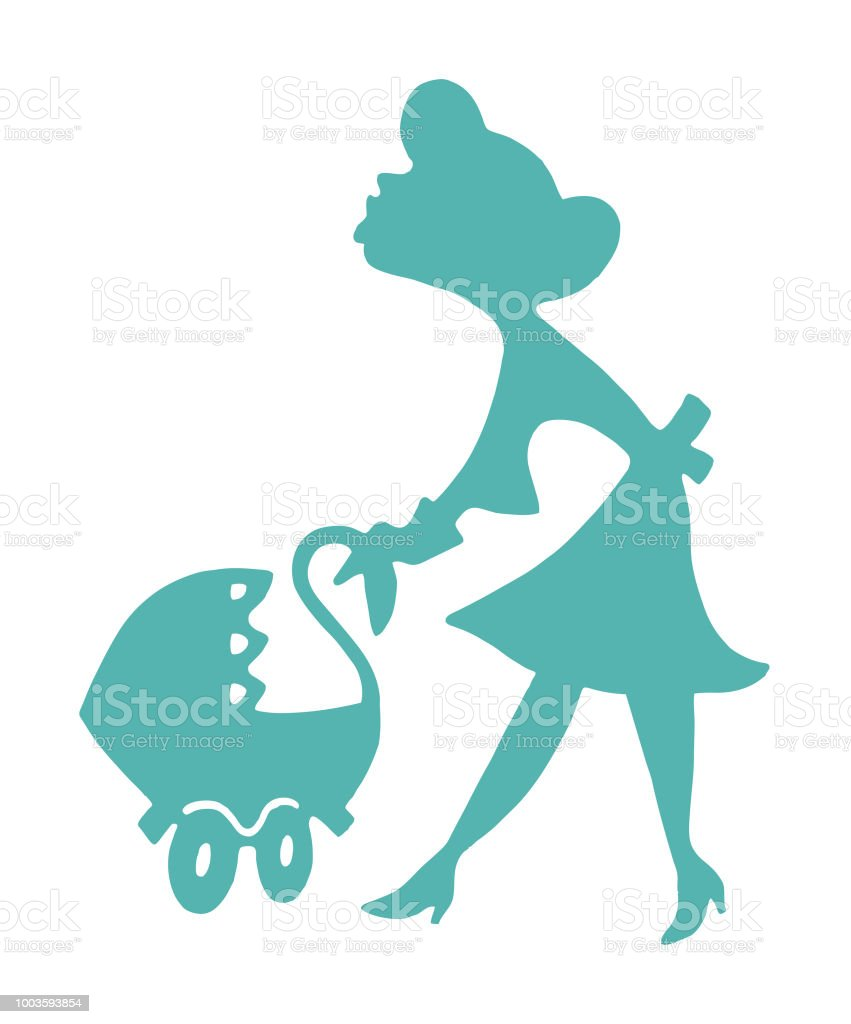 Woman Pushing Baby Carriage vector art illustration