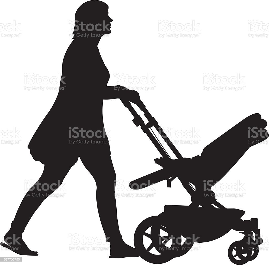 Woman Pushing Stroller Silhouette vector art illustration