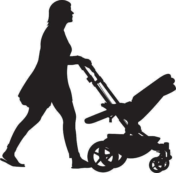 Woman Pushing Stroller Silhouette vector art illustration