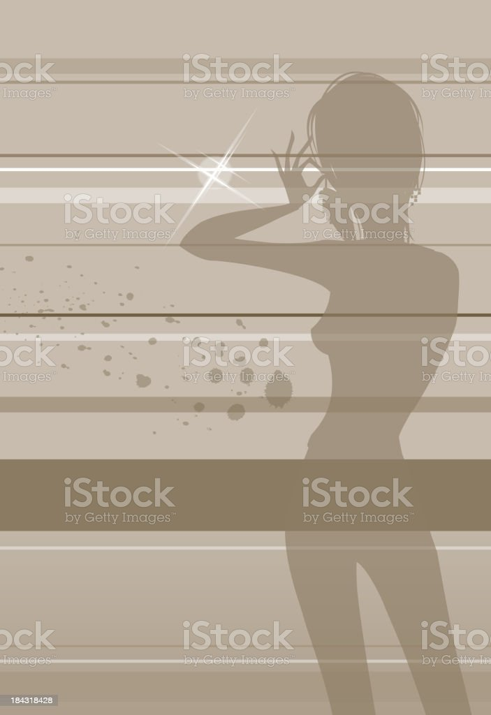 Woman putting on earrings royalty-free stock vector art