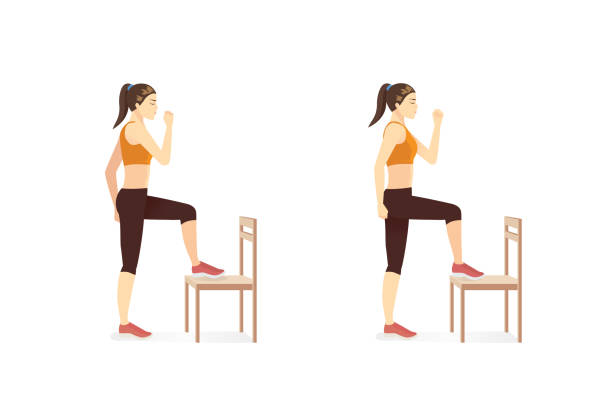Woman quickly alternate lifting her knees high to lightly tap the seat with her toes. Chair Workout with Toe Taps posture. vector art illustration