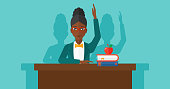An african-american woman raising her hand while sitting at the table on a blue backgrond vector flat design illustration. Horizontal layout.