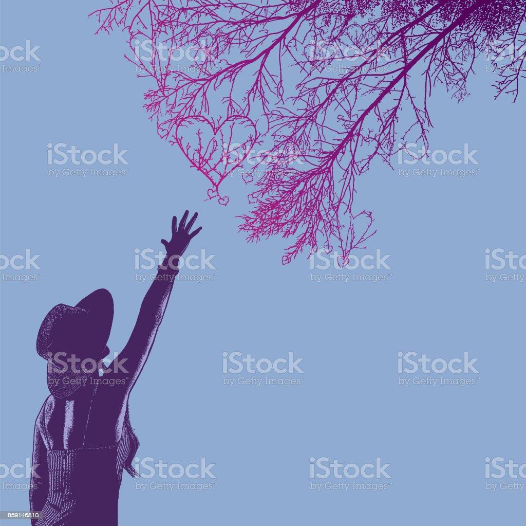 Ilustración De Mujer Para Romance Y Ramas De Los árboles En Forma De