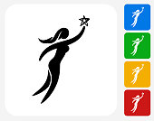 Woman Reaching the Star Icon Flat Graphic Design