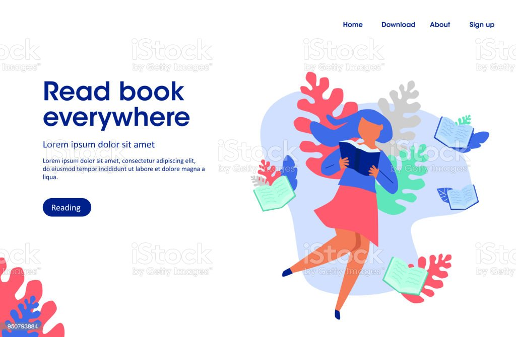 woman read book,  read book everywhere, landing page illustration woman read book read book everywhere landing page illustration - immagini vettoriali stock e altre immagini di abbigliamento elegante royalty-free