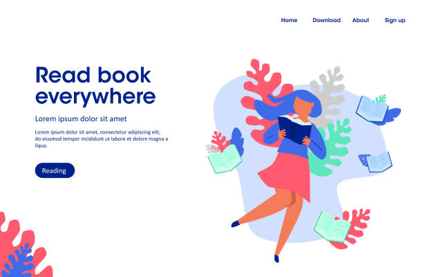 woman read book,  read book everywhere, landing page illustration vector art illustration