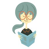 Vintage vector illustration of a woman reading a book
