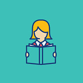 Woman Reading A Book Thin Line Education Icon
