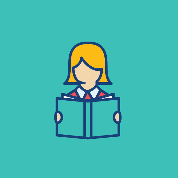 Woman Reading A Book Thin Line Education Icon vector art illustration