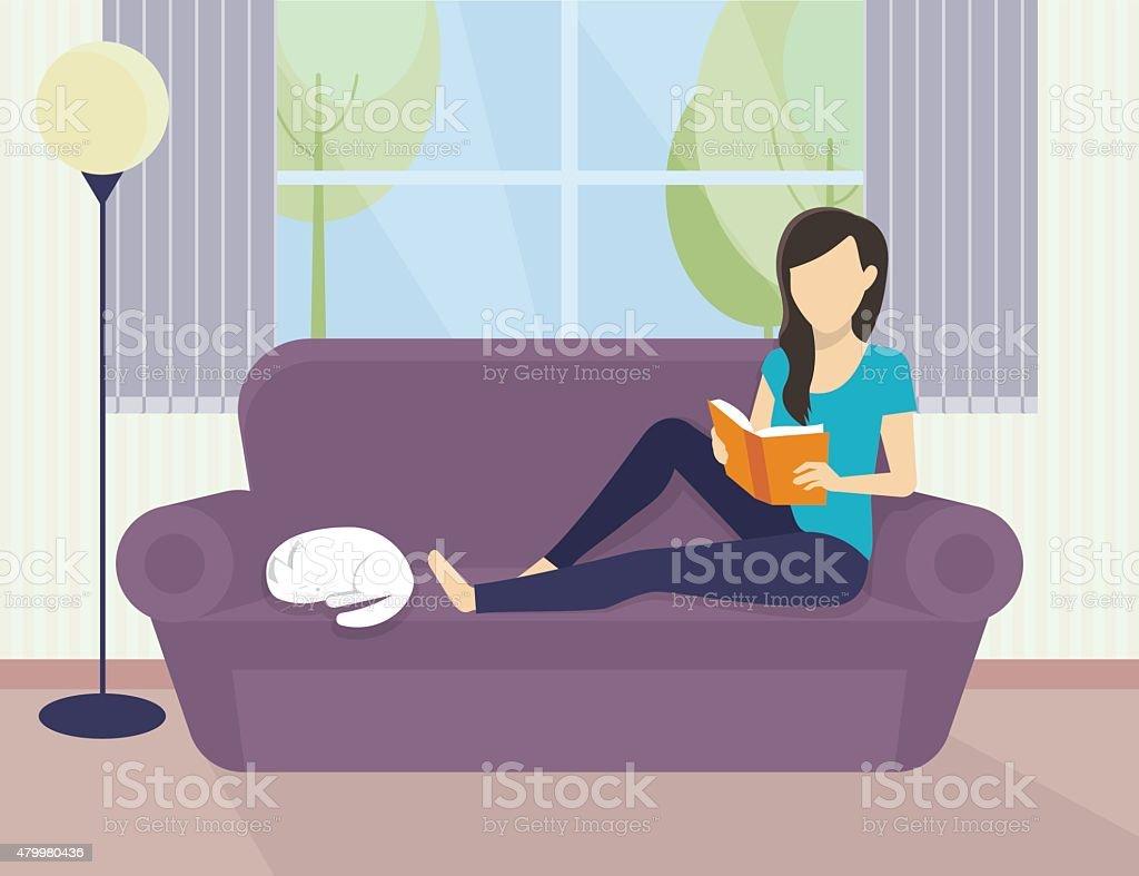 Woman reading a book vector art illustration
