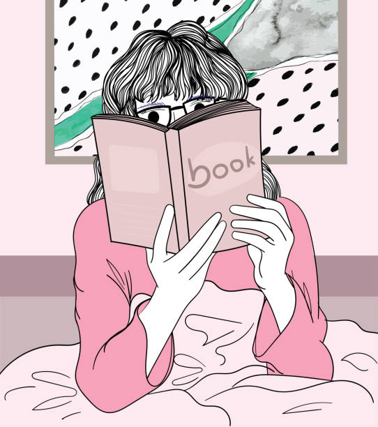 A woman reading a favorite book in the morning atmosphere bed.Doodle art concept,illustration painting vector art illustration