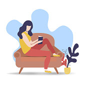Woman reading book in sofa couch. Modern flat cartoon style concept for leisure activity or literature project.
