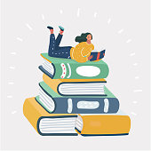Vector cartoon illustration of cartoon woman reading book on stack of book