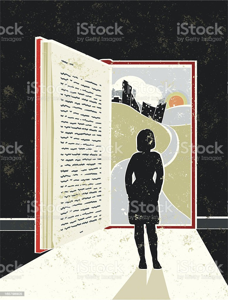 Woman Reading Book showing Cityscape, suggesting an Open Doorway royalty-free stock vector art