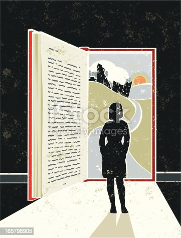 Lose yourself in a good book! A stylized vector cartoon of a book in the shape of an open door with light streaming in and a cityscape behind, the style is  reminiscent of an old screen print poster. Suggesting opportunity, hope, Education, reading, escape, career path,journey, or losing yourself in good book. Woman, Book, cityscape, paper texture and background are on different layers for easy editing. Please note: clipping paths have been used,  an eps version is included without the path.