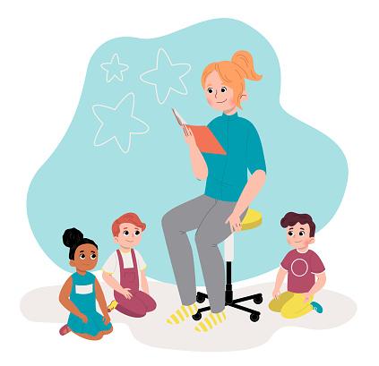 Woman reading book to kids in kindergarten. Flat design illustration. Vector