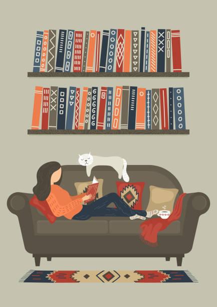 ilustrações de stock, clip art, desenhos animados e ícones de woman reading book - hygge