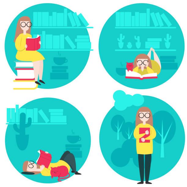 stockillustraties, clipart, cartoons en iconen met vrouw lezen boek vectorillustratie in vlakke stijl - woman home magazine