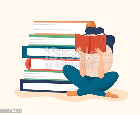 istock Woman reading book with pile of books 1244793141