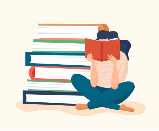 stockillustraties, clipart, cartoons en iconen met het lezen van de vrouw boek met stapel boeken - woman home magazine
