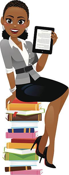 woman reading electronic book - heyheydesigns stock illustrations