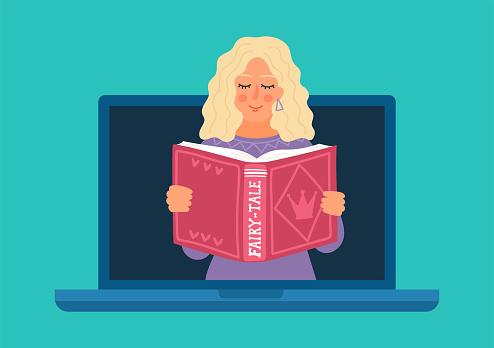 Woman reading fairy-tale online.