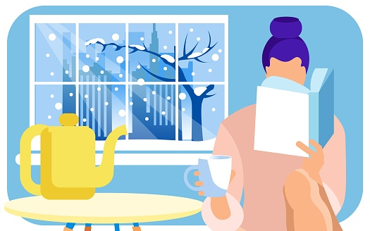 Woman Reading Interesting Book and Having Tea