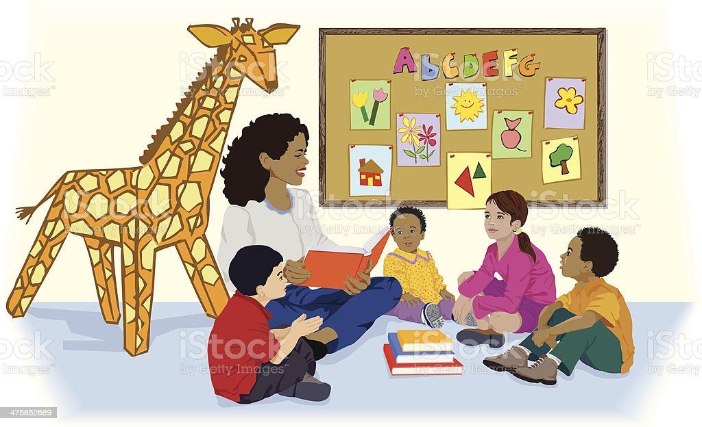 Woman Reading Kids C royalty-free stock vector art